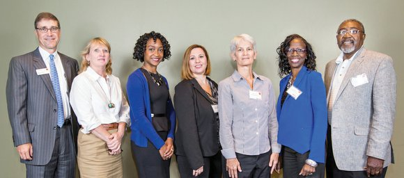 Pictured are Alan Dishman of Wells Fargo (from left), Angie Macon of the Decatur Arts Alliance, Adeidra Washington of Youth V.I.B.E., Tabitha Michael of Our House, Kim Fmdak of Women Moving On, Pat Martin of KIDDS Dance Project, and Earl Cornwell of Speak Life Worldwide.